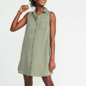 Old Navy Sleeveless Swing Chambray Shirt Dress M